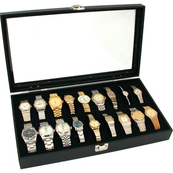 Caja Exhibicion Joyeria Con Tapa 18 Relojes Pulseras