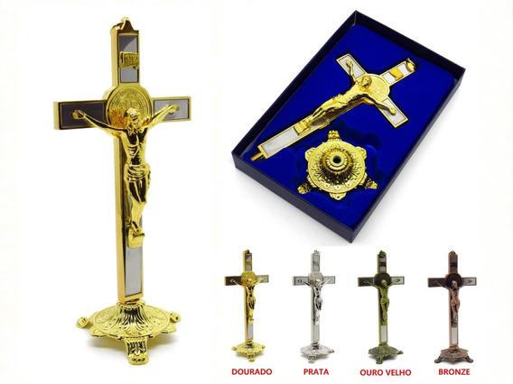 Crucifixo De Mesa Ou Parede Com Medalha De São Bento 20 Cm