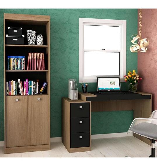 Escrivaninha E Estante Com 2 Portas E 3 Gavetas Para Escritório-ho-2956-hecol