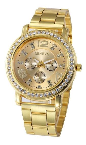 Relógios Feminino Dourado Original Aço Inox C/ Garantia 2626