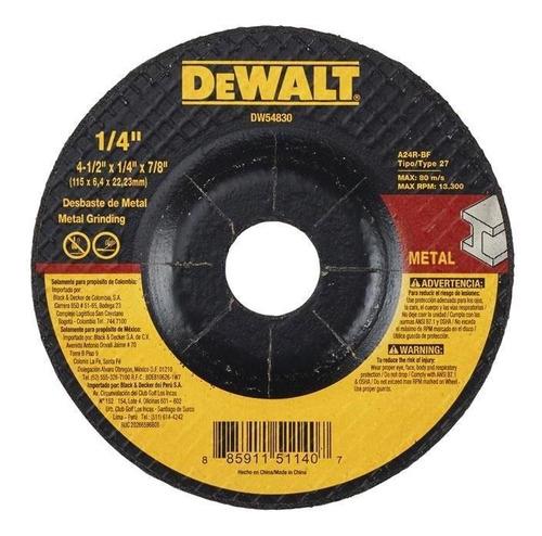 Disco Abrasivo 4-1/2  X 1/4  X 7/8  T27 Desbaste Dw54830