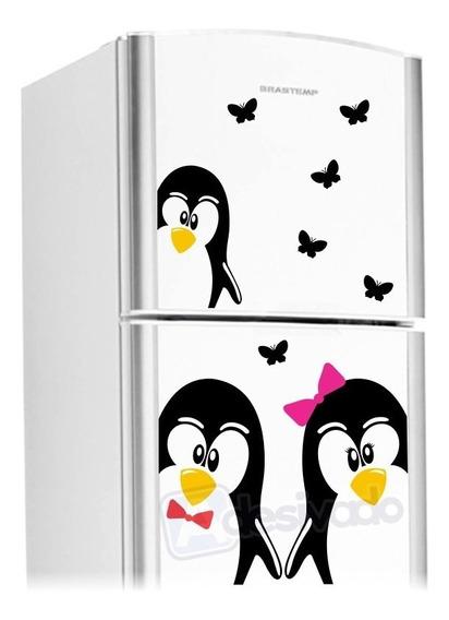 Adesivo Geladeira Casal Pinguins + Borboletas + Filhote 01