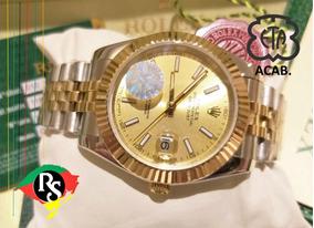 Relógio Datejust 41mm Jubileu Dourado Misto Cravejado Palito