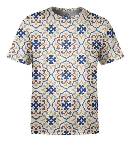 Camiseta Masculina Estampa De Azulejos Estampa Digital