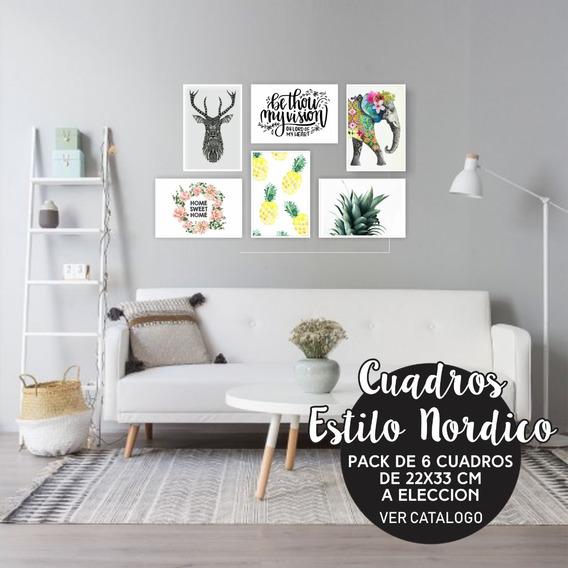 Cuadros Nórdicos Decorativos Modernos Silueta X6 Un 33x22 Cm