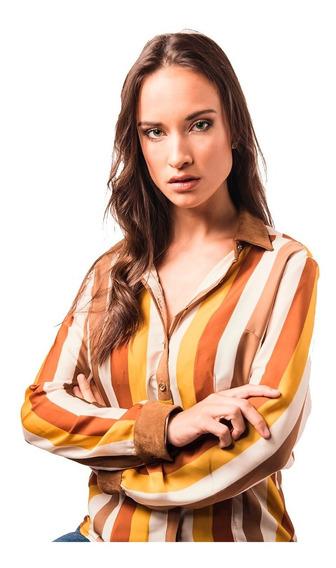 Camisa Seda Rayada Con Detalles En Gamuza Simil Cuero Giacca