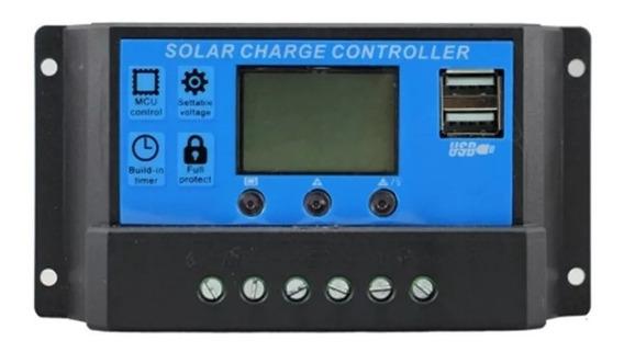 Controlador De Carga Solar Pwm 30a 12v 24v Com Lcd