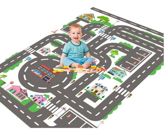 Tapete De Carros Para Criança City Kids Carros Lona 1,5x1,0m