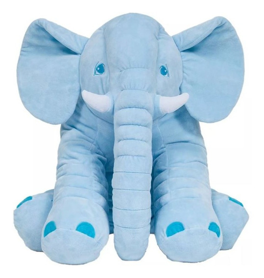 Elefante Almofada Pelucia Antialergica Azul Bebe Buba Baby .