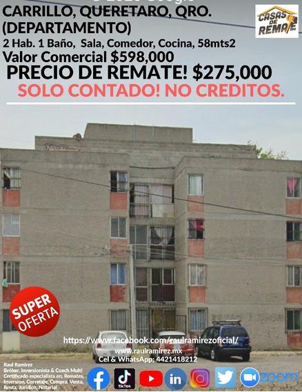 Carrillo, Querétaro. Departamento. Remate