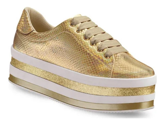 Tenis Zapato Sneaker Mujer Oro Andrea Modelo 2660868