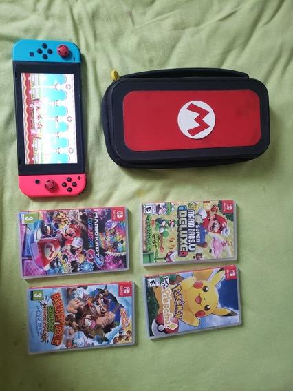 Nintendo Switch, 4 Jogos + Case Do Mario + Cartão De Memória