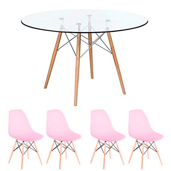Conj Mesa Jantar 90 Cm Redonda Vidro + 4 Cadeiras Eames Rosa