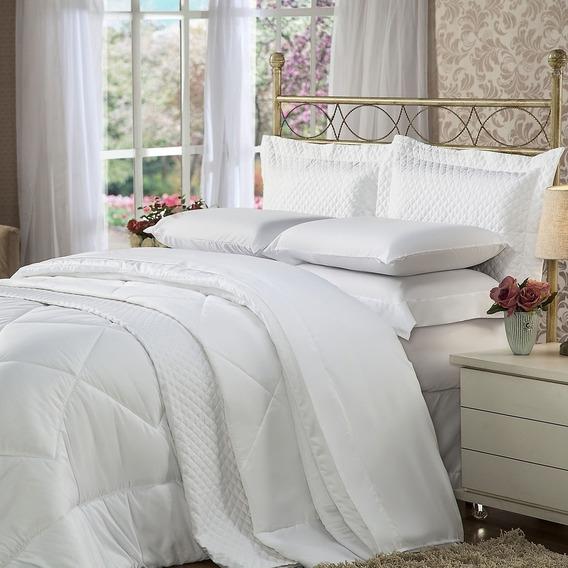 Cobertor Colcha Casal 3 Peças Toque Sedoso Branco Plumasul