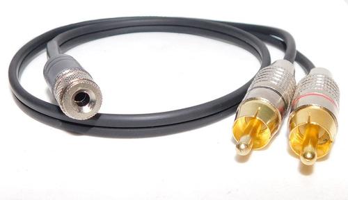 Imagen 1 de 1 de Cable Mini Plug 3,5 Hembra Stereo A 2  Rca Macho L Y R  Metalico