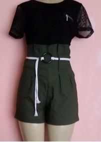 Short Curto Cintura Alta Com Cordão Bengaline Feminino