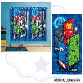 Cortina Super Heróis Avengers 2 Pçs E Toalha De Banho