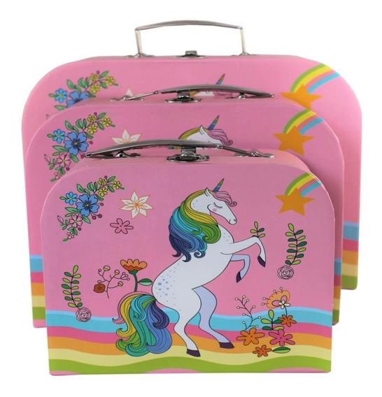 Caixa Organizadora Infantil Decorativa Unicornio Kit 3 Caixa