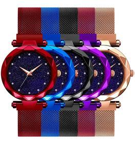 Kit 5 Relógios Femininos Universo Rose Pulseira Magnética
