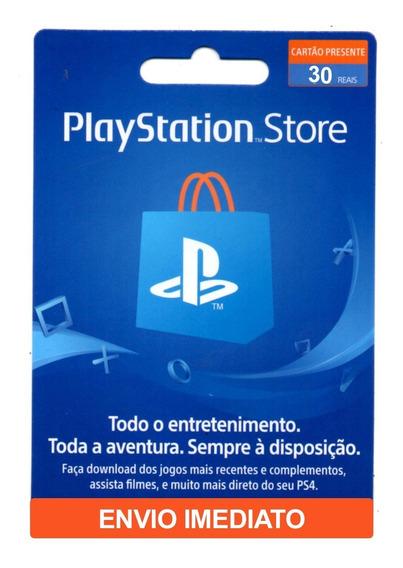Cartão Psn Store Br Gift Card R$ 30 Reais Ps3 Ps4 Brasil