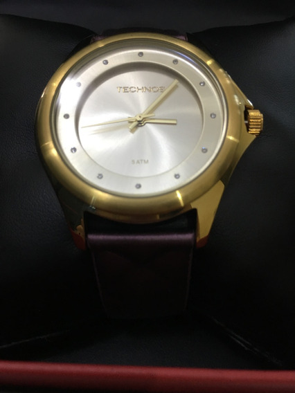 Relógio De Pulso Technos 2035lys Dourado E Vinho Feminino