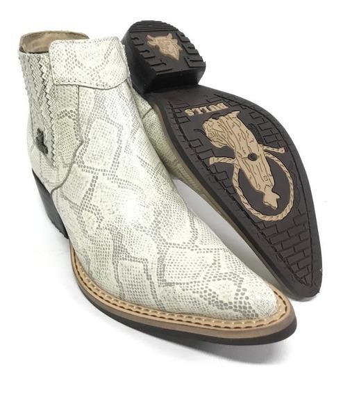 Bota Botina Masculina Country Bulls Bico Fino Marfim