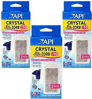 (3 Pack) Api Cartuchos De Filtro De Cristal Bio-chem Zorb In