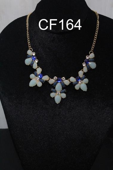 Collar Brillante Con Piedras Azules