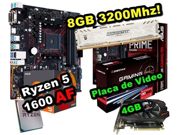 Kit Ryzen 5 1600 Af + B450m + Rx 550 4gb + 8gb 3200mhz Upgra