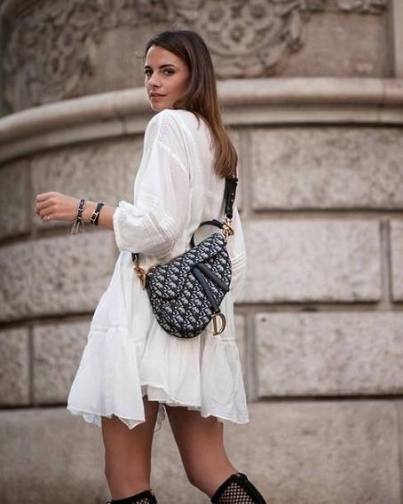Bolsa Dior Saddle Oblique Couro Azul Lançamento