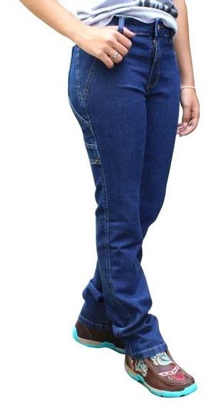 Calça Feminina Country Carpinteira Alabama Jeans Escuro