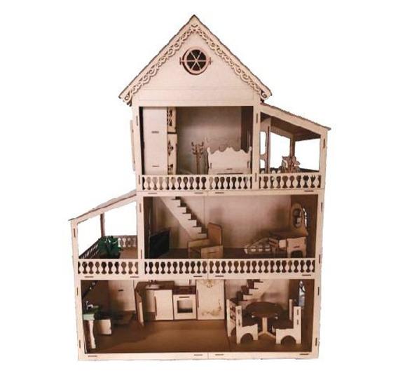 Casa Casinha Para Bonecas Barbie Polly Lol Grande Mdf Móveis