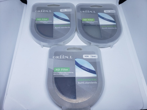 Imagem 1 de 2 de Kit Filtro Lente Nd2 Nd4 Nd8 - 72mm - Densidade Neutra