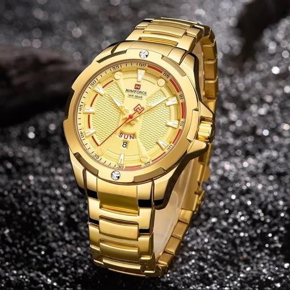 Relógio Masculino Dourado Naviforce 9161