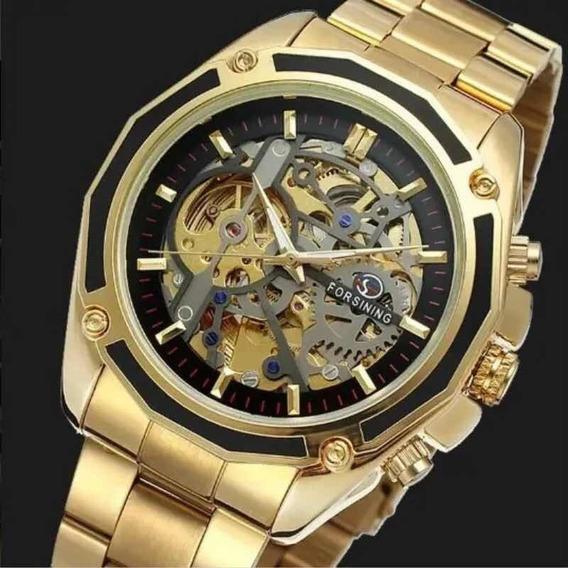 Relógio De Luxo Masculino Diamante Automático Luminoso