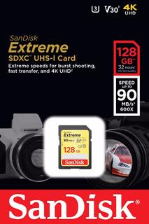 Cartão Sd Xc Sandisk Extreme 128gb 90mb/s Uhs-3 C10 V30 4k