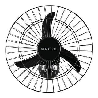 Ventilador de parede Ventisol Comercial preto com 3 pás de plástico, 50cm de diâmetro 127V/220V