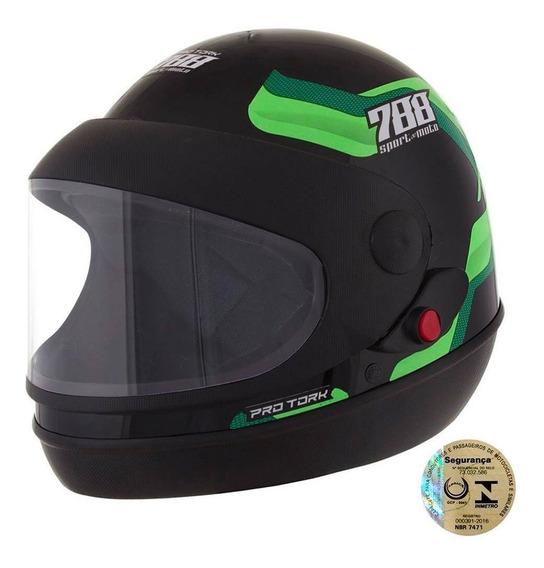 Capacete Sport Moto 788 Preto E Verde Tamanho 58 Cap-496vd