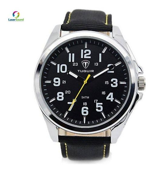 Relógio Masculino Tuguir 5045 Prata E Preto C/ Garantia E Nf