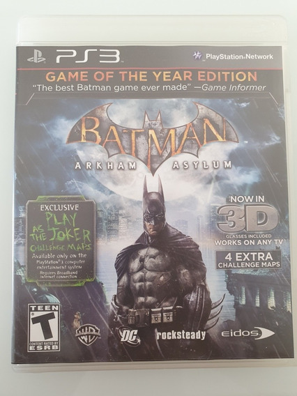 Batman Arkham Asylum Ps3 Com Óculos 3d