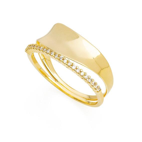 Anel De Ouro 18k Ondulado Concâvo Filete Zircônia An35990 An