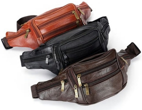 Pochete Masculina Bolsa Cintura Motoqueiro Couro Ref 205