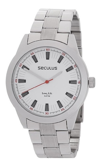 Kit Relógio Masculino Fundo Branco Séculus Com Canivete23812