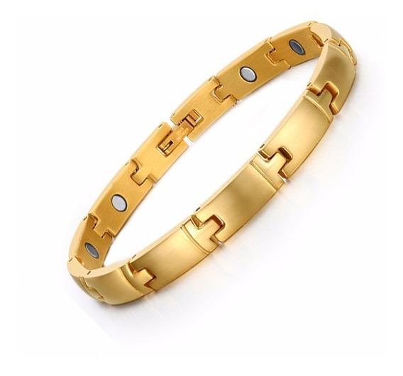 Pulseira Bracelete Feminino Masculino Aço Inox Banhado Ouro