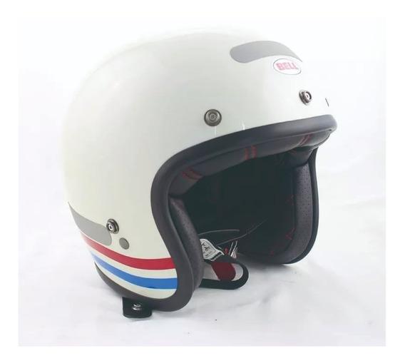 Capacete Aberto Bell Custom 500 Stripes Branco Perola