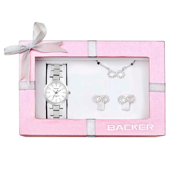 Relógio Feminino + Colar E Brincos Backer 30270023 Prata