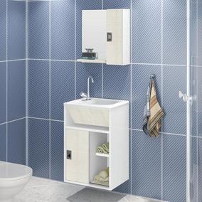 Gabinete Para Banheiro Suspenso - Branco/linho
