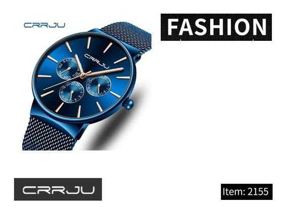 Relógio Masculino Crrju 2155 Azul E Dourado C/caixa