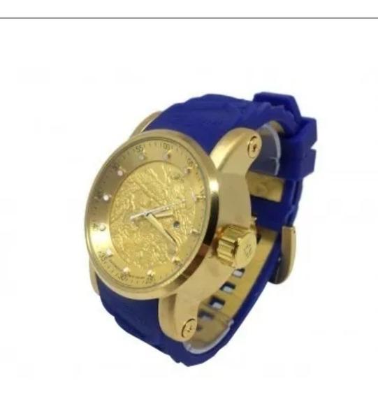 Relógio Invicta Yakuza S1 Dragon Na Caixa - Dourado C/ Azul