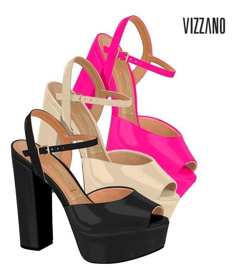 Sandalia Salto Grosso Plataforma Vizzano Confortavel